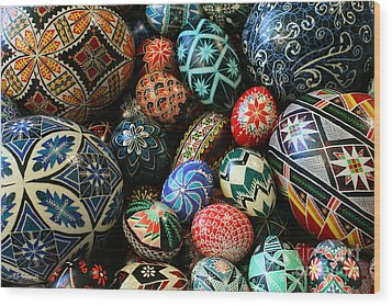 Shari's Ukrainian Eggs Wood Print by E B Schmidt