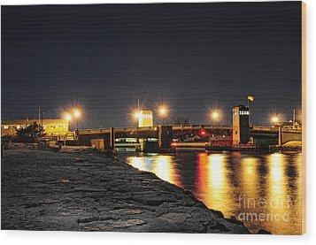 Shark River Inlet At Night Wood Print by Paul Ward