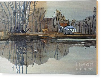 Shark River Reflections Wood Print by Donald Maier