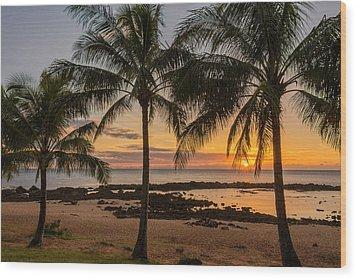 Sharks Cove Sunset 4 - Oahu Hawaii Wood Print