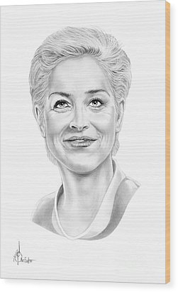 Sharon Stone Wood Print by Murphy Elliott
