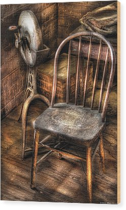 Sharpener - Grinder And A Chair Wood Print by Mike Savad