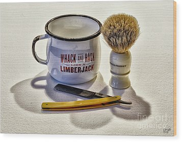 Wood Print featuring the photograph Shaving Still Life by Walt Foegelle