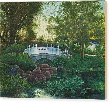 Wood Print featuring the painting Shaw's Chinese Garden by Michael Frank