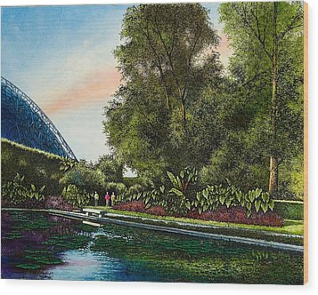 Wood Print featuring the painting Shaw's Gardens Climatron by Michael Frank