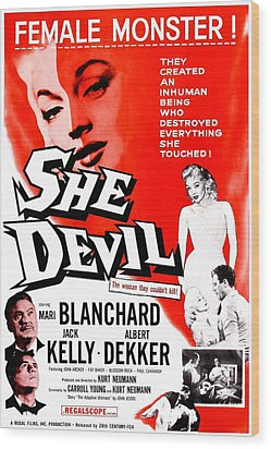 She Devil, Blonde Woman Featured Wood Print by Everett