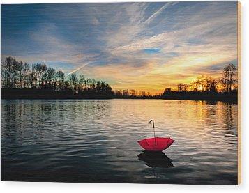 She Floats Away Wood Print