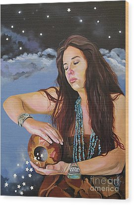 She Paints With Stars Wood Print by J W Baker
