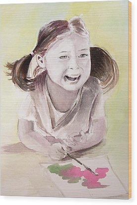 She Plays Wood Print by Allison Ashton