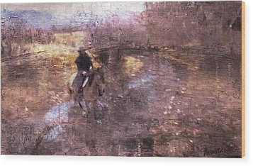 She Rides A Mustang-wrangler In The Rain II Wood Print by Anastasia Savage Ealy