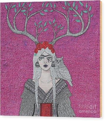 She Wears The Crown Wood Print by Natalie Briney