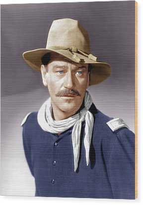 She Wore A Yellow Ribbon, John Wayne Wood Print by Everett