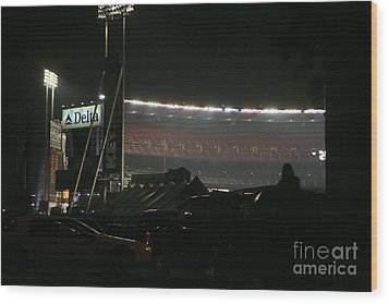 Shea Stadium Wood Print by Chuck Kuhn