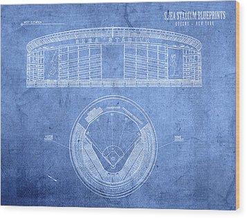 Shea Stadium New York Mets Baseball Field Blueprints Wood Print