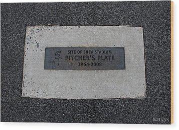 Shea Stadium Pitchers Mound Wood Print by Rob Hans