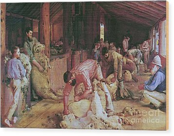 Shearing The Rams Wood Print by Pg Reproductions