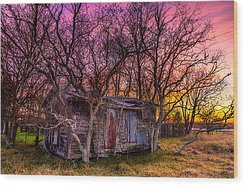 Shed And Sunset Wood Print