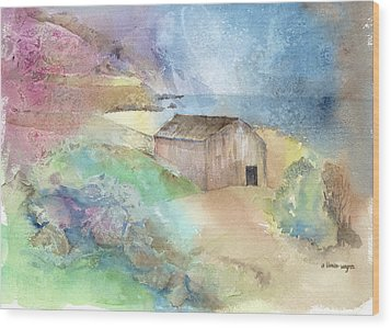 Shed By A Lake In Ireland Wood Print by Arline Wagner