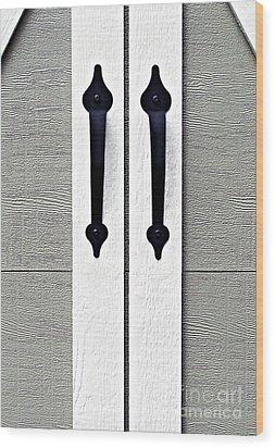 Shed Door Handles Wood Print by Ethna Gillespie