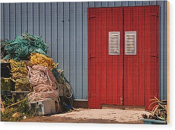 Shed Doors And Tangled Nets Wood Print by Louise Heusinkveld