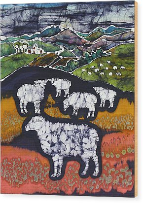 Sheep At Midnight Wood Print by Carol  Law Conklin