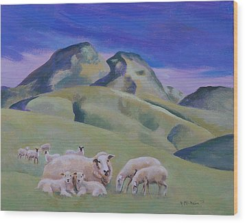 Sheep At Sutter Buttes Wood Print