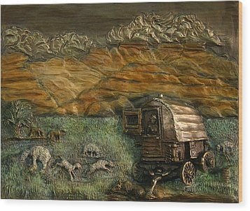 Wood Print featuring the relief Sheep Herder's Wagon From Snowy Range Life by Dawn Senior-Trask