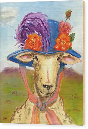 Wood Print featuring the painting Sheep In Fancy Hat by Susan Thomas