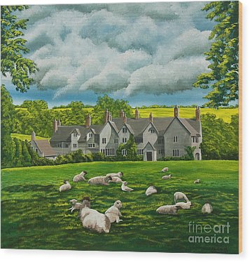 Sheep In Repose Wood Print by Charlotte Blanchard