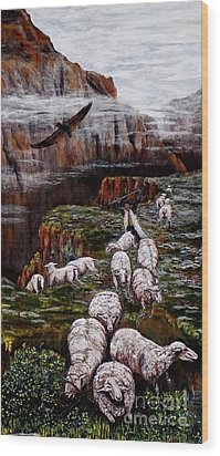 Sheep In The Mountains  Wood Print
