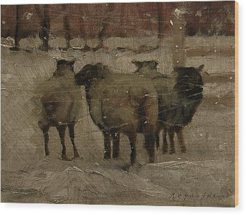 Sheep In The Snow Wood Print by John Reynolds