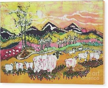 Sheep On Sunny Summer Day Wood Print by Carol Law Conklin