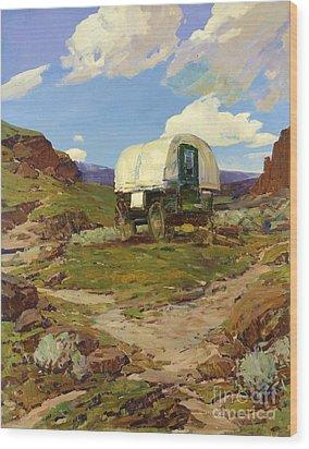 Sheep Wagon Wood Print by Pg Reproductions