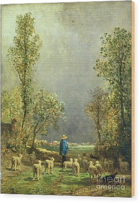 Sheep Watching A Storm Wood Print by Constant-Emile Troyon