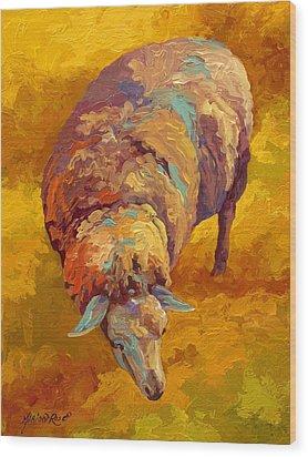 Sheepish Wood Print by Marion Rose