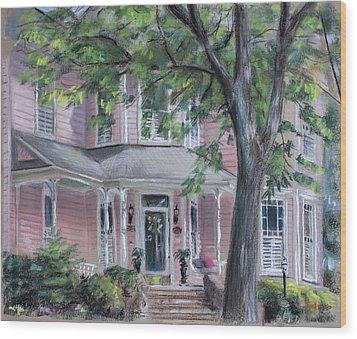 Sheila's Pink House Wood Print