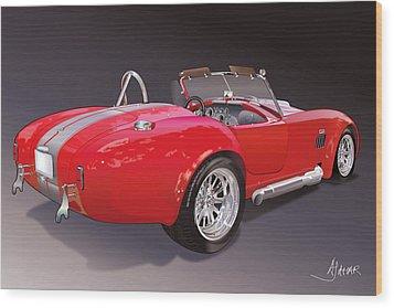 Shelby Cobra Wood Print by Alain Jamar