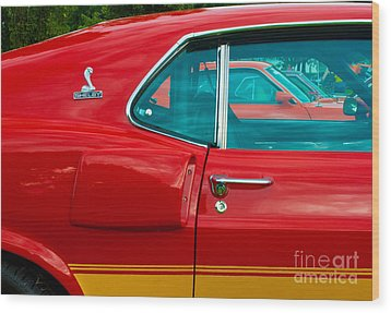 Red Shelby Mustang Side View Wood Print