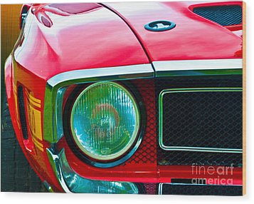 Red Shelby Mustang Wood Print