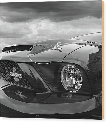 Wood Print featuring the photograph Shelby Super Snake Mustang Grille And Headlight by Gill Billington