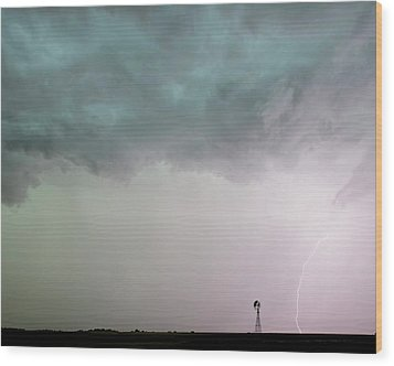 Shelf Cloud And Windmill -05 Wood Print by Rob Graham