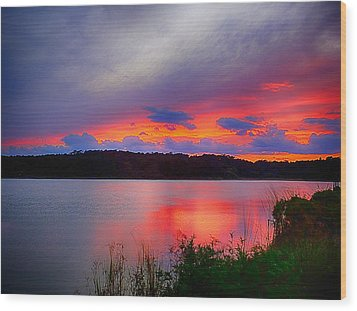 Wood Print featuring the photograph Shelf Cloud At Sunset by Bill Barber
