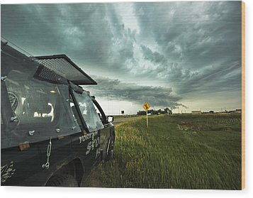 Wood Print featuring the photograph Shelf Cloud Near Vibank Sk. by Ryan Crouse
