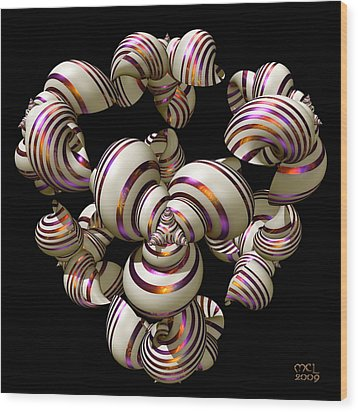 Wood Print featuring the digital art Shell Convergence by Manny Lorenzo