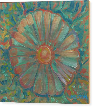 Wood Print featuring the painting Shell Flower by John Keaton
