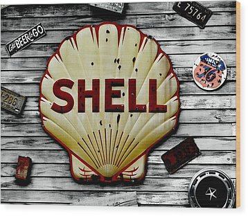 Shell Gas Wood Print