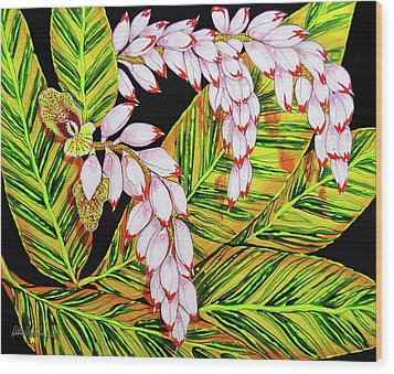 Shell Ginger Flowers Wood Print by Debbie Chamberlin