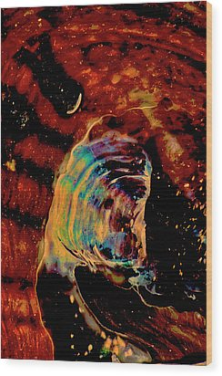 Shell Space Wood Print by Gina O'Brien