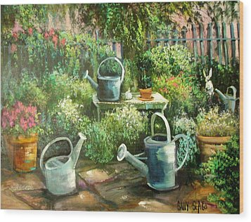Shelley's Garden Wood Print by Sally Seago