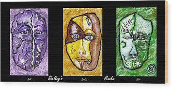 Wood Print featuring the painting Shelleys Mask Split Broken Alive by Shelley Bain
